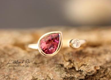 Bague de fiançailles originale Rubis et diamant