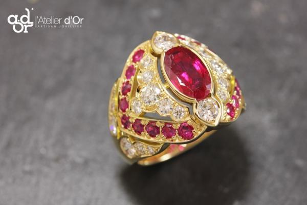Bague or jaune rubis et diamants Charbonnières-les-Bains